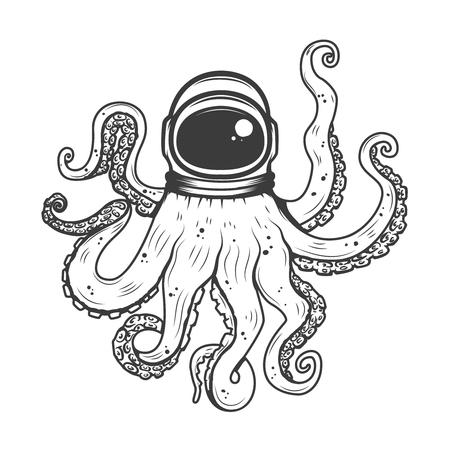 astronaut helmet with octopus tentacles design element for t shirt
