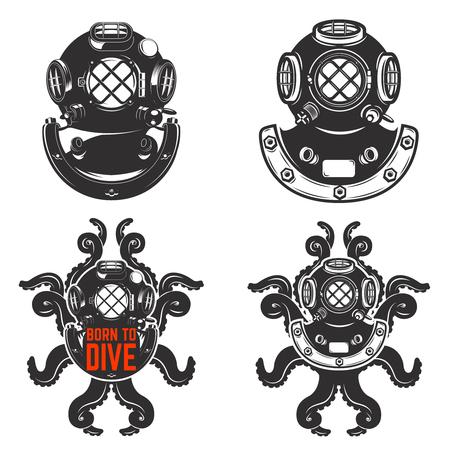 Set of vintage diver helmets. Diver helmet with octopus tentacles. Born to dive. Design elements for label, emblem. Stok Fotoğraf - 72781972