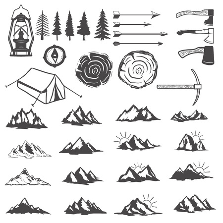 Set of mountains icons. Hiking elements. Design elements for label, emblem, sign, menu.