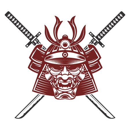 samurai mask with crossed swords isolated on white background. Design elements for label, emblem, sign, brand mark. Illustration