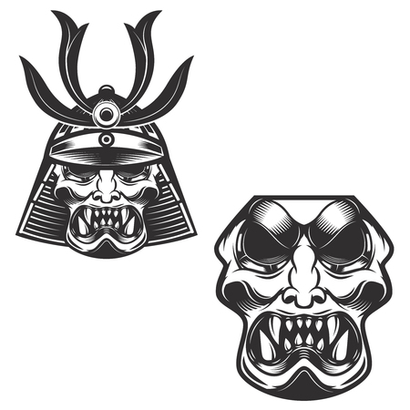 Samurai warrior helmet isolated on white background. Design elements for label, emblem.
