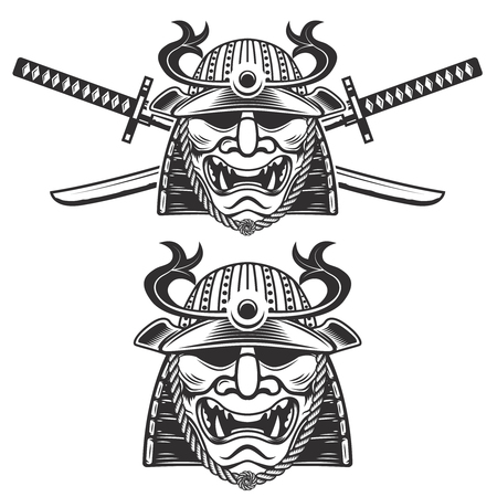 daimyo: Set of the samurai mask with crossed swords isolated on white background. Design elements for label, emblem, sign, brand mark.