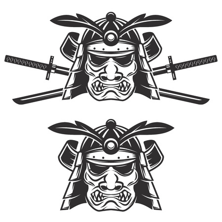 Set of the samurai mask with crossed swords isolated on white background. Design elements for  label, emblem, sign, brand mark.
