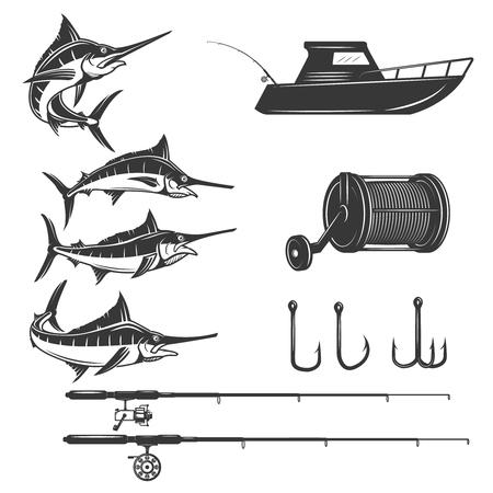 Tiefsee-Design-Elemente isoliert auf weißem Hintergrund. Schwert Fisch Symbole. Bilder für Etikett, Emblem, Schild, Menü. Standard-Bild - 72782140
