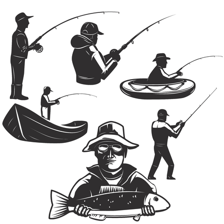 Set of fisherman silhouettes. Fishing icons. Design element for label, emblem, sign.