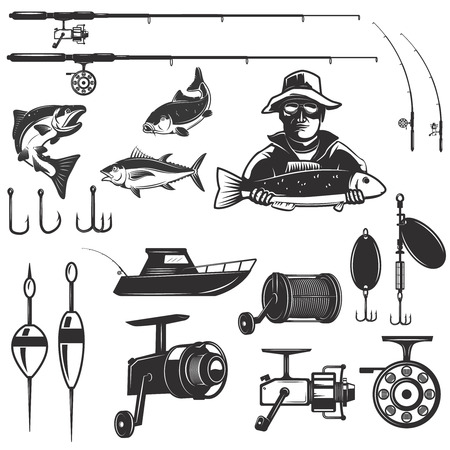 Set of fishing design elements isolated on white background. Images for label, emblem.