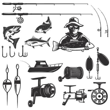 Zestaw elementów projektu połowów samodzielnie na białym tle. Obrazy na etykiecie, godło.