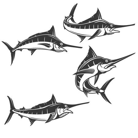 Iconos de pez espada aisladas sobre fondo blanco.