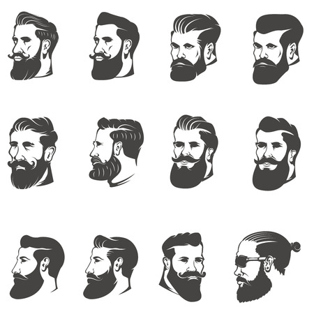 set of the bearded man head isolated on white background. Images for label, emblem. Illustration