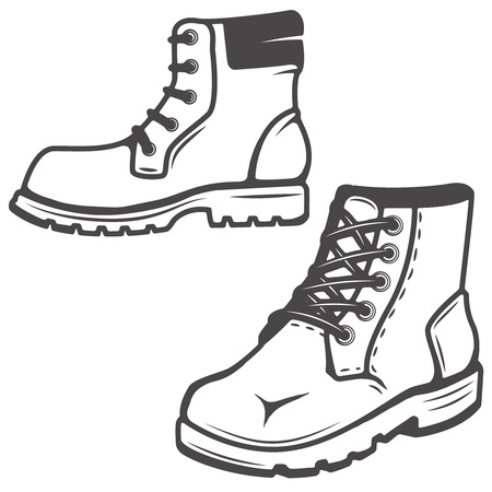 set of the boots icons isolated on white background. Images for label, emblem.