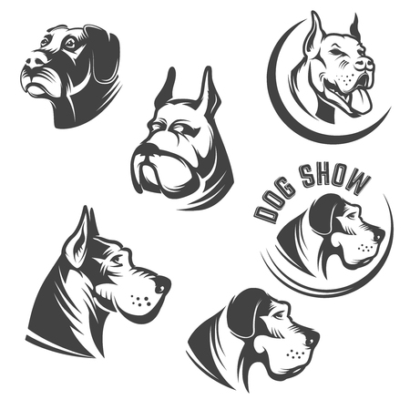 Set of the dog heads icons isolated on white background. Images for label, emblem.