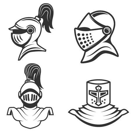 roman soldier: set of the knight helmets isolated on white background. Design elements for label, emblem, sign, brand mark. Illustration