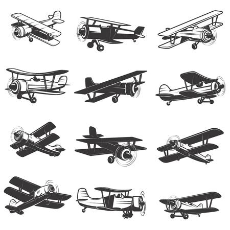 set of vintage airplanes icons. Aircraft illustrations. Design element for label, emblem, sign.