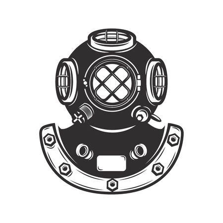 Vintage style diver helmet isolated on white background. Design element for emblem, badge.
