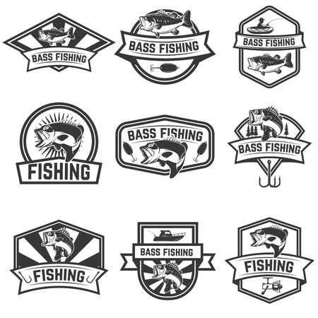 Set of bass fishing emblem templates isolated on white background. Design elements for logo, label, sign. Vector illustration