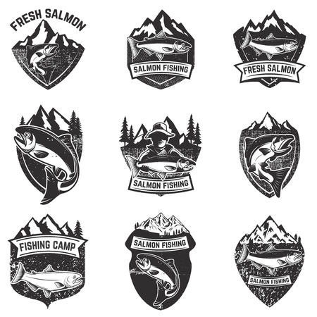 Set of grunge badges with salmon fish. Design elements for logo, label, emblem, poster, t-shirt. Vector illustration.