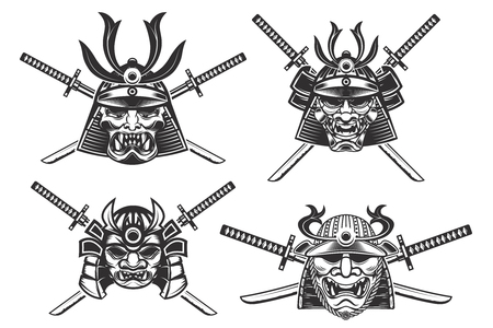 흰색 배경에 고립 칼 사무라이 헬멧의 집합입니다. 로고, 레이블, 엠 블 럼, 포스터, 티셔츠 디자인 요소입니다. 벡터 일러스트 레이 션.