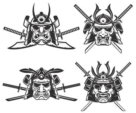 daimyo: Set of the samurai mask with crossed swords isolated on white background. Design elements for logo, label, emblem, sign, brand mark. Vector illustration.