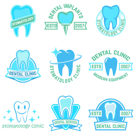 Set of stomatology labels color isolated on white background. Design elements for logo, label, emblem, poster, t-shirt. Vector illustration.