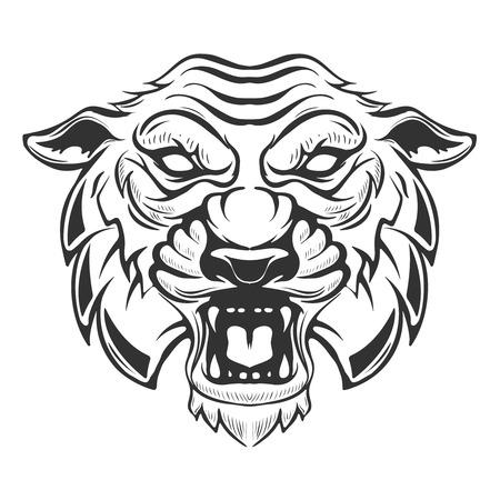 tiger head illustration isolated on white background. Images for logo, label, emblem. Vector illustration.