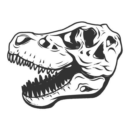 T-rex dinosaur skull isolated on white background. Images for logo, label, emblem. Illustration