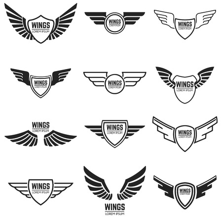 Winged emblems, frames, icons, angel and phoenix wings. Design elements for logo, emblem, sign, brand mark. Vector illustration.