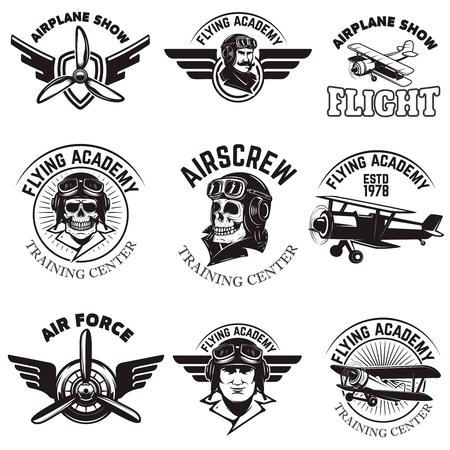 Set of air force, airplane show, flying academy emblems. Vintage planes. Design elements for logo, badge, label. Vector illustration. Иллюстрация