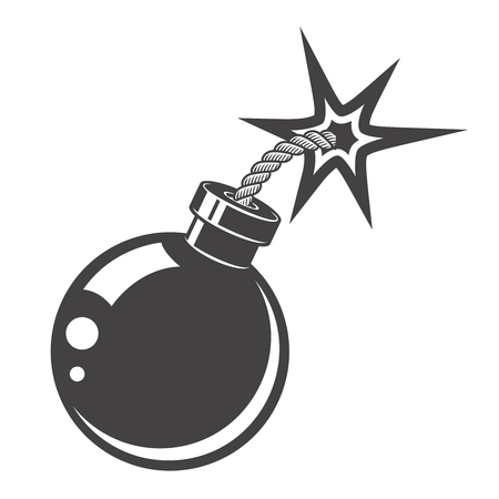 bomb icon isolated on white background. Design elements for logo, albel, emblem, sign. Vector illustration.