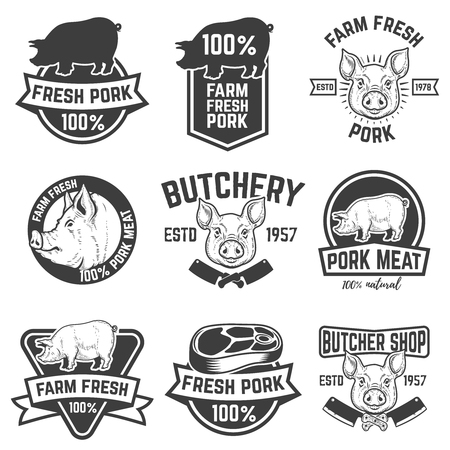 farm fresh pork meat emblems. Design elements for logo, label, sign. Vector illustration.
