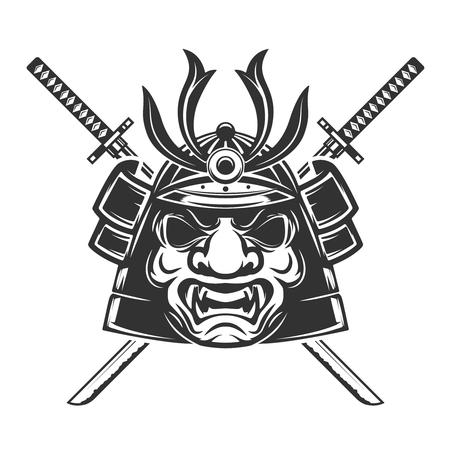 daimyo: Samurai mask with crossed swords isolated on white background. Illustration