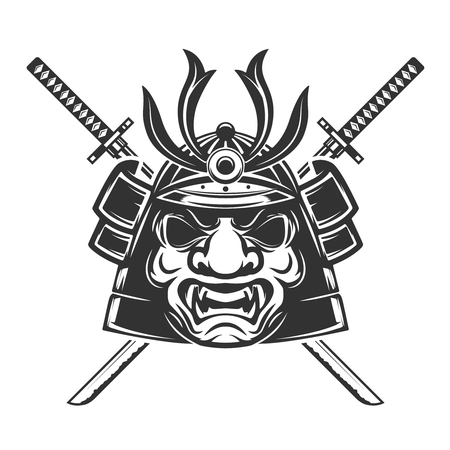 Samurai mask with crossed swords isolated on white background. Illustration