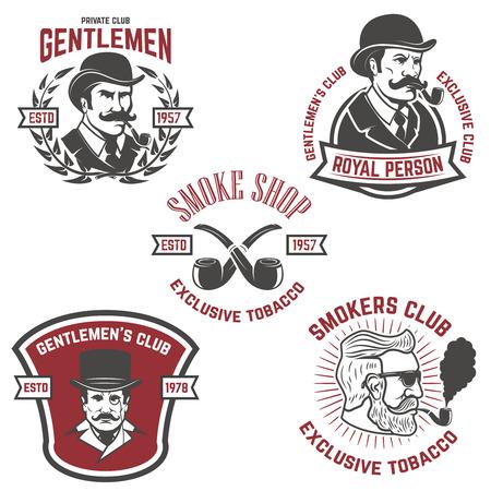 Set of  smokers club, gentlemen club labels. Design elements for logo, emblem, sign, brand mark. Vector illustration.