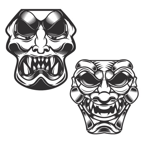 daimyo: set of samurai masks. Design elements for logo, label, sign. Vector illustration.