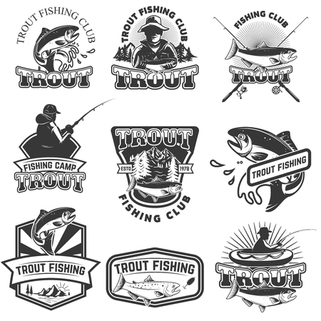Reeks forel vissende emblemen die op witte achtergrond worden geïsoleerd. Ontwerpelementen voor logo, label, poster, t-shirt. Vector illustratie.