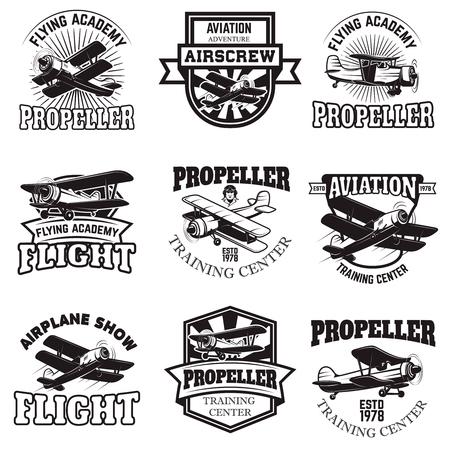 Set of air force, airplane show, flying academy emblems. Vintage planes. Design elements for logo, badge, label.