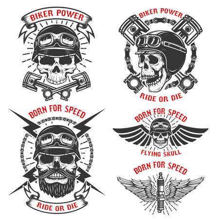 Born for speed. Set of the emblems with racer skulls. Biker club labels. Vector illustrations.