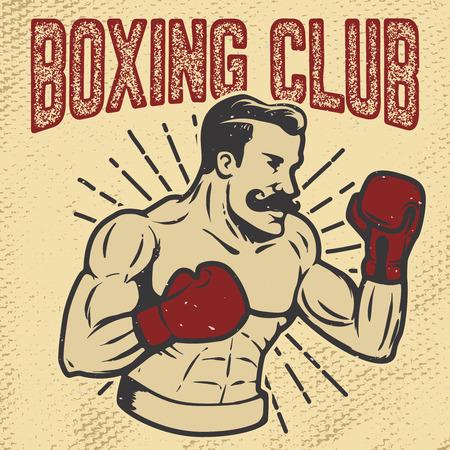 Boxing club. Vintage style boxer on grunge background. Design element for poster, t-shirt, emblem. Vector illustration. Ilustração