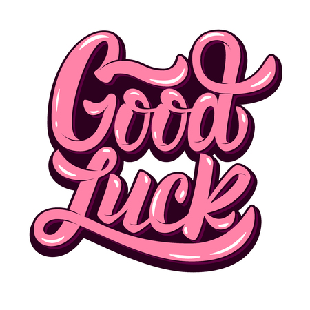 good luck. Hand drawn lettering phrase isolated on white background. Vectores