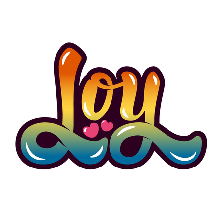 joy. Hand drawn lettering isolated on white background. Design element for poster, greeting card, t-shirt. Vector illustration. Illustration