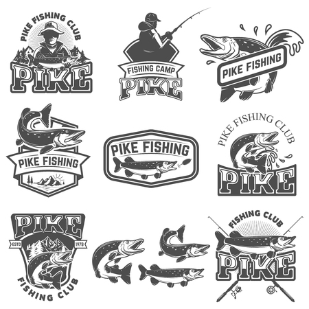 Pike fishing club emblems. Design element for logo, label, badge, sign. Vector illustration. Vectores