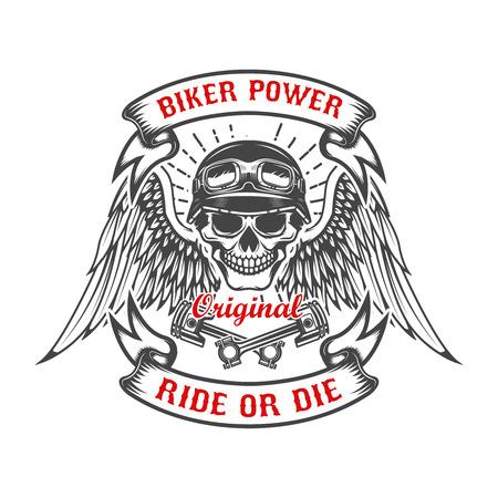 翼と 2 つの交差させたピストンのレーサー スカル。バイクに乗る人の力。乗るか、死ぬか。