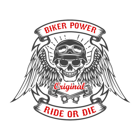 Racer skull with wings and two crossed pistons. Biker power. Ride or die.