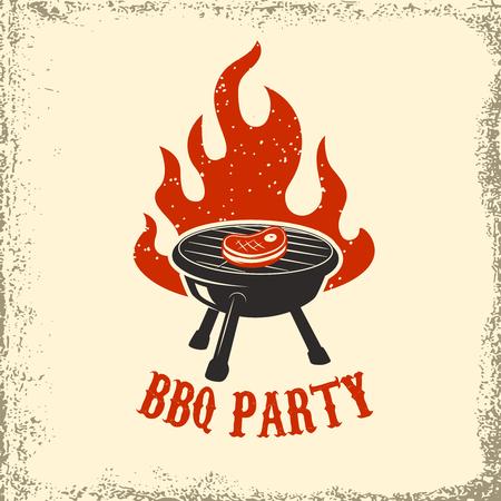 BBQ-feest. Grill met vuur op grunge achtergrond. Ontwerpelement voor poster, restaurantmenu. Vector illustratie.