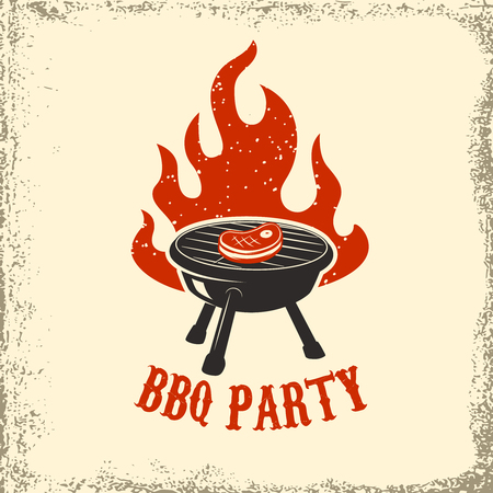 BBQ party. Grill with fire on grunge background. Design element for poster, restaurant menu. Vector illustration. Stok Fotoğraf - 74864261