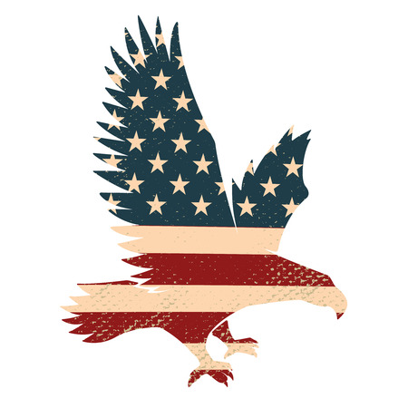 Eagle silhouette on the USA flag background. Design element for poster, postcard.