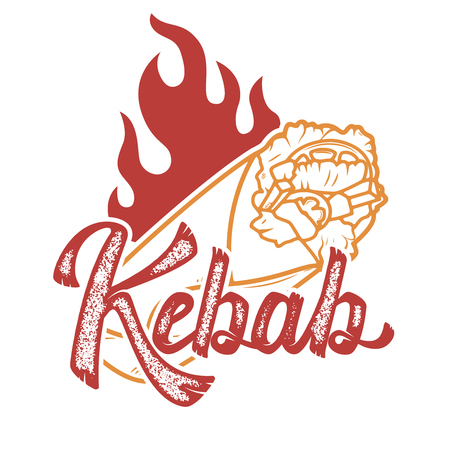 kebab. Handwritten lettering logo, label, badge. Emblem for fast food restaurant, cafe. Çizim