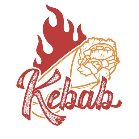 kebab. Handwritten lettering logo, label, badge. Emblem for fast food restaurant, cafe. Illustration