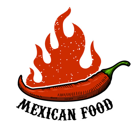capsaicin: Mexican food. Chili pepper with fire isolated on white background. Vector illustration