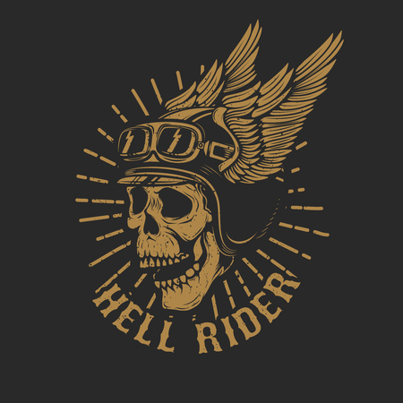racer skull in winged helmet isolated on dark background. Design element for emblem, poster, t-shirt. Vector illustration