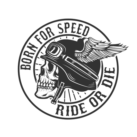 Skull in winged helmet. Born for speed. Ride or die. Design element for poster, emblem, t-shirt. Vector illustration Ilustração